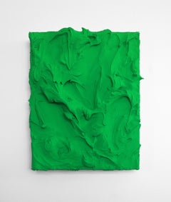 Electric Lime Excess (impasto texture thick small painting salon hanging green