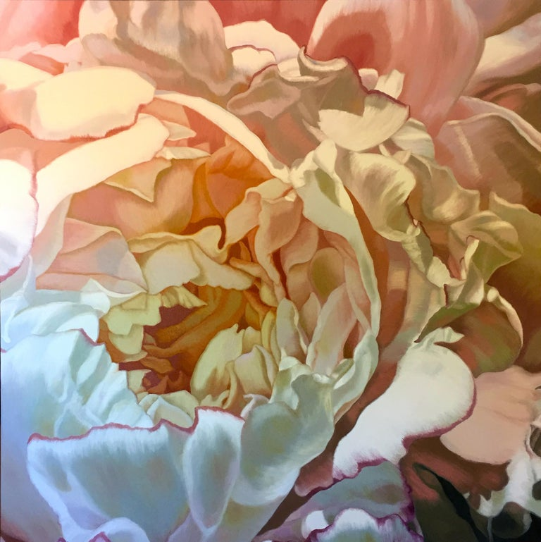 Chloe Hedden Abstract Painting - Evening Peony 2 (floral painting, realist, pastels, flower, oil painting, canvas