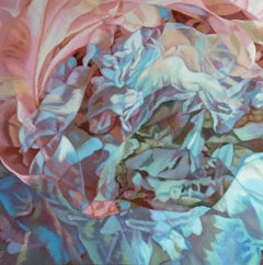 Ghosts 2 (floral painting, realist, pastels, flower, oil painting, canvas, pink)