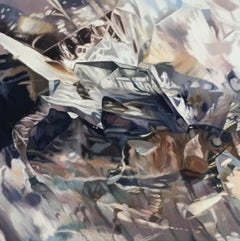 Ghosts (mineral crystals painting, realist, grey art, oil painting, canvas)