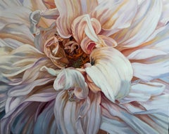 Giant Dahlia (floral painting, realist, pastels, flower, oil painting, canvas)