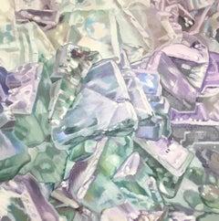 Green Fluorite (gems pastels oil painting canvas quartz lilac minerals light)