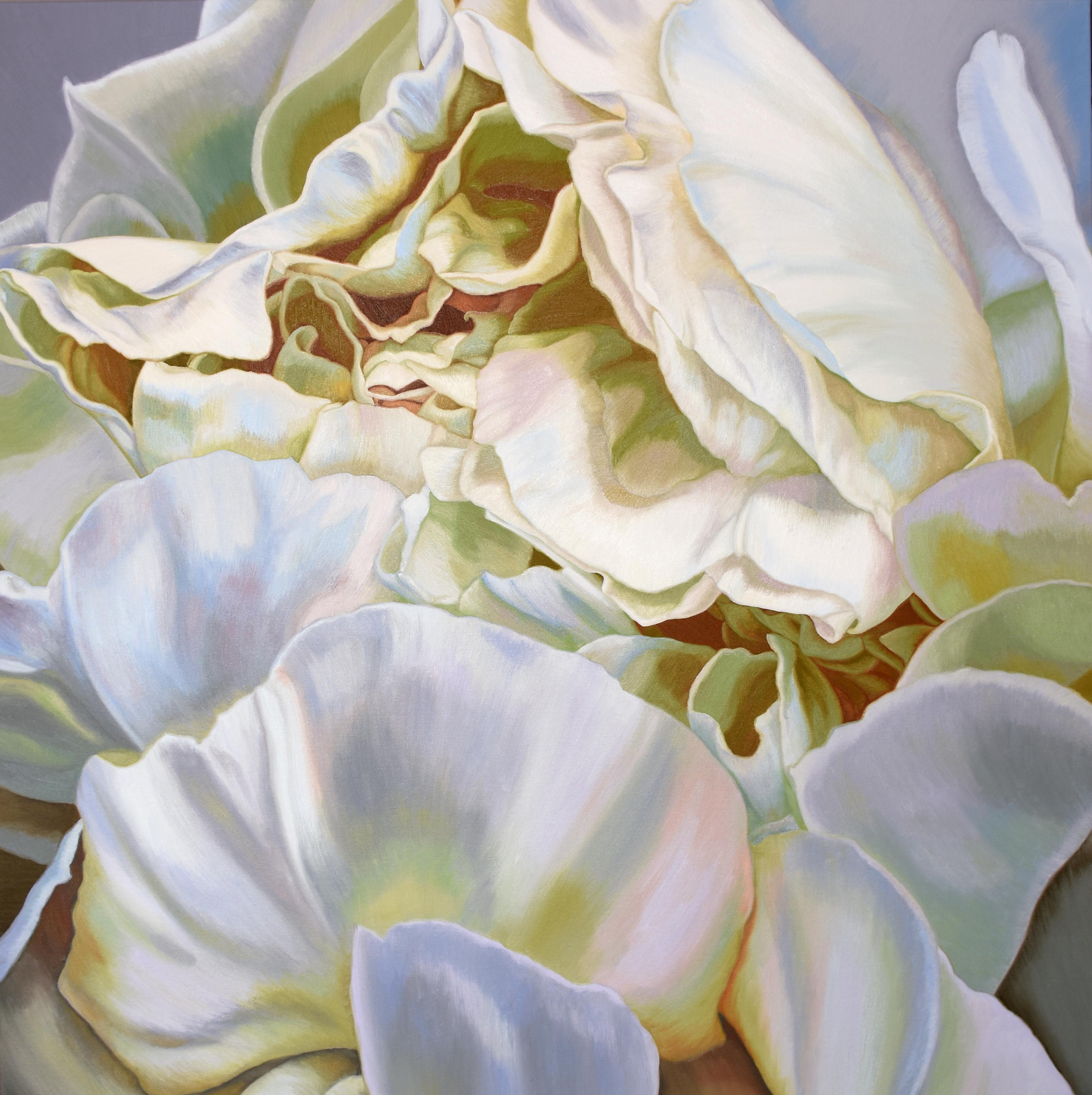 Green Peony 2 (floral painting, realist, canvas, white flower art, oil, realism)