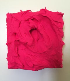 Hot Pink Excess (impasto thick painting monochrome contemporary design vivid)