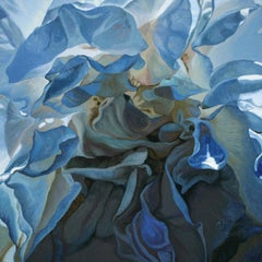 Inner Light (floral painting, realist art, blue flower, oil painting, canvas)