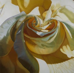 INTIMACY 2 (floral painting, realist, yellow flower art, oil painting, canvas)