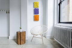 Lemon Yellow Excess (impasto texture thick small painting salon hanging bold