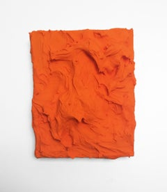 Mandarin Excess (impasto texture thick small painting salon hanging bold orange