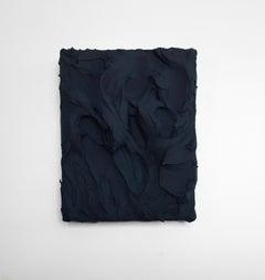 Midnight Blue Excess (impasto texture thick painting monochrome pop bold design)