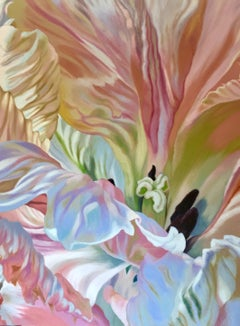 Parrot Tulip 2 (floral painting, realist, pastels, flower, oil painting, canvas)