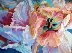 Parrot Tulip  (floral painting, realist, vibrant, flower, oil painting, canvas)