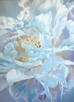 Peony  (floral painting realism pastels white flower oil pink)
