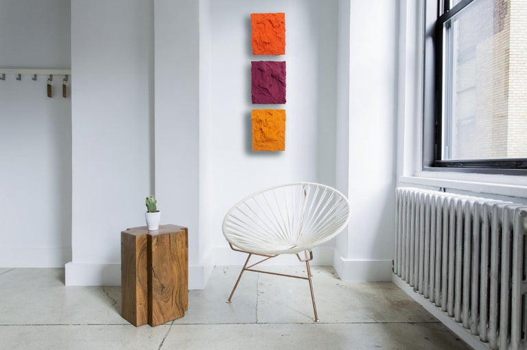 Plum Excess (impasto texture thick small painting monochrome salon hanging bold - Sculpture by Chloe Hedden
