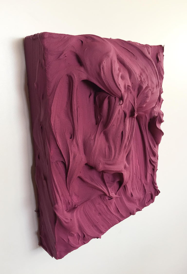 Plum Excess (impasto texture thick small painting monochrome salon hanging bold - Brown Abstract Sculpture by Chloe Hedden