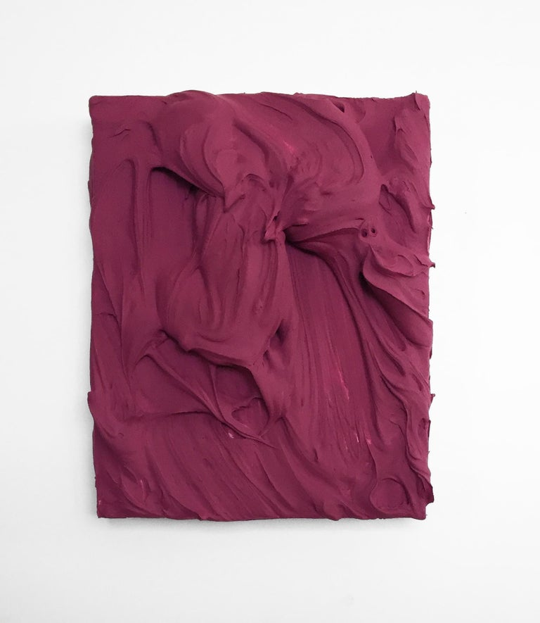 Chloe Hedden Abstract Sculpture - Plum Excess (impasto texture thick small painting monochrome salon hanging bold