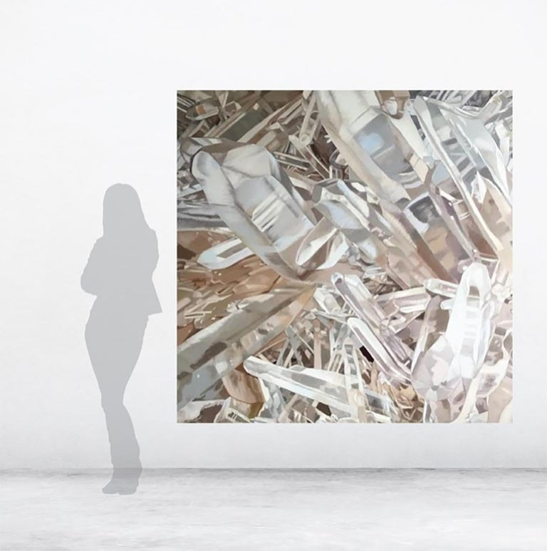Quartz 3 (crystals painting, oil on canvas, contemporary realism, white art) For Sale 3
