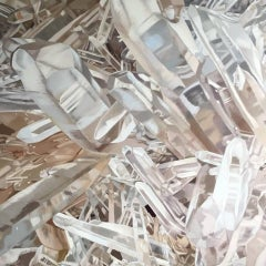 Quartz 3 (crystals painting, oil on canvas, contemporary realism, white art)