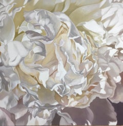 Salt Spring Peony 16 (floral realist pale flower oil painting canvas pink)