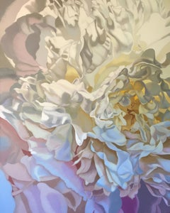 Salt Spring Peony 17 (floral realist flower oil painting canvas cream pink)