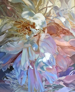 Salt Spring Peony 3 (floral painting pastels flower oil realist petals canvas)