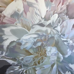 Salt Spring Peony 3 (floral painting realist canvas white flower oil canvas)