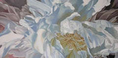 Salt Spring Peony 4 (floral painting, realist, pastels, flower, oil painting)