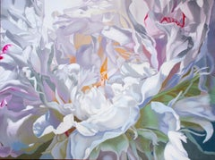 Salt Spring Peony 8 (floral painting pastels flower oil realist petals canvas)