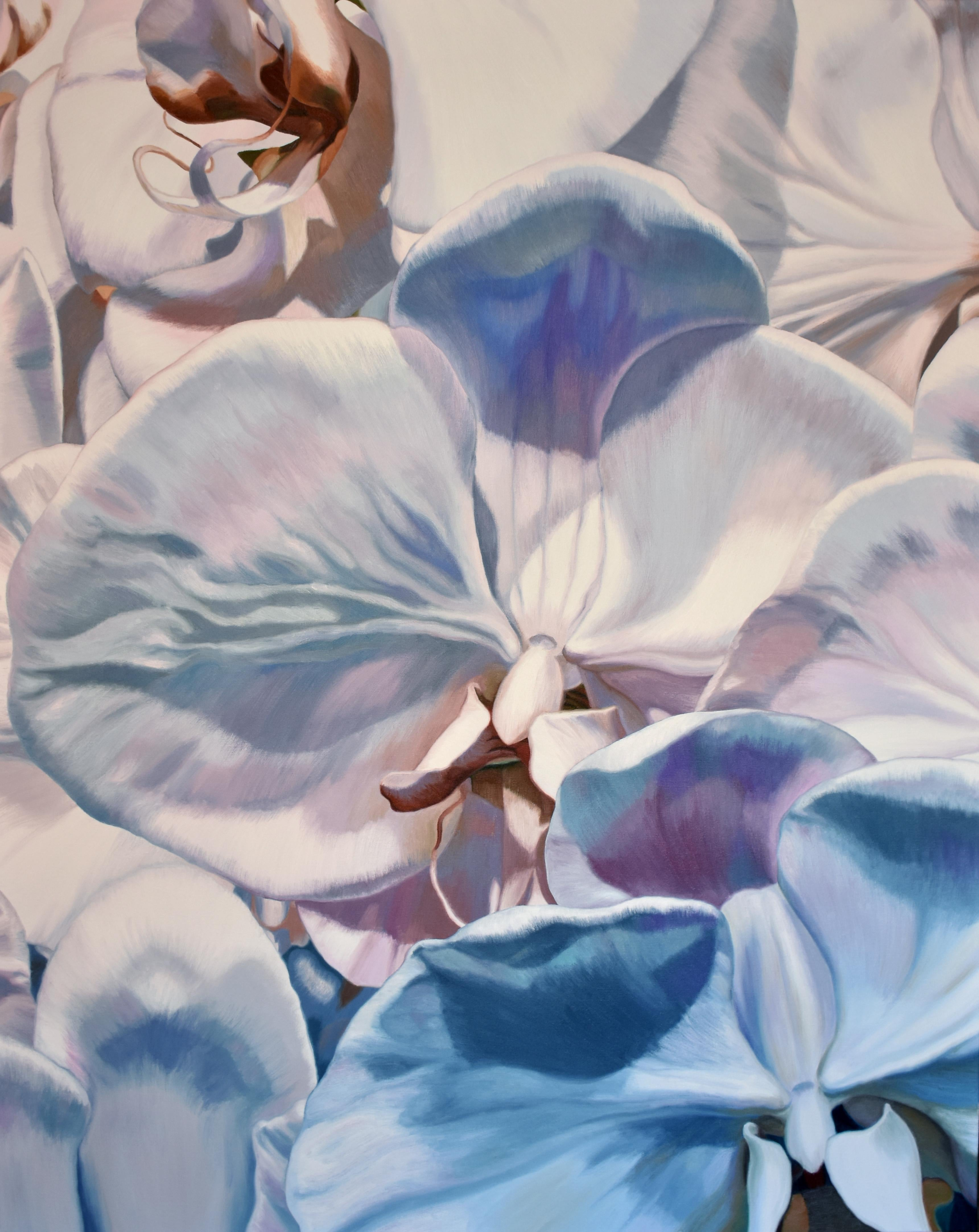 White Orchids (floral painting, realist, pastels, flower, oil painting, canvas)