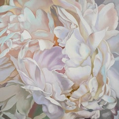 White Peony 2 (floral painting, contemporary realism, flower oil painting canvas