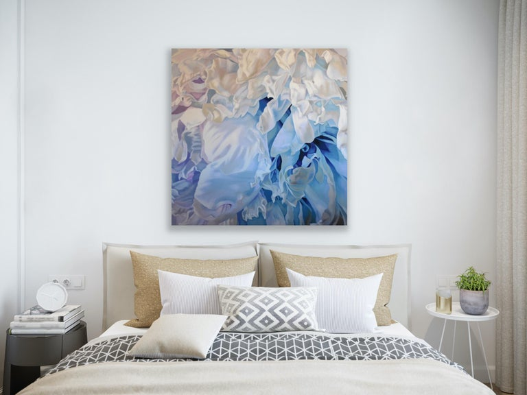 Winter Rose (floral art realist oil white lilac blue flower georgia o'keefe ) - Impressionist Painting by Chloe Hedden