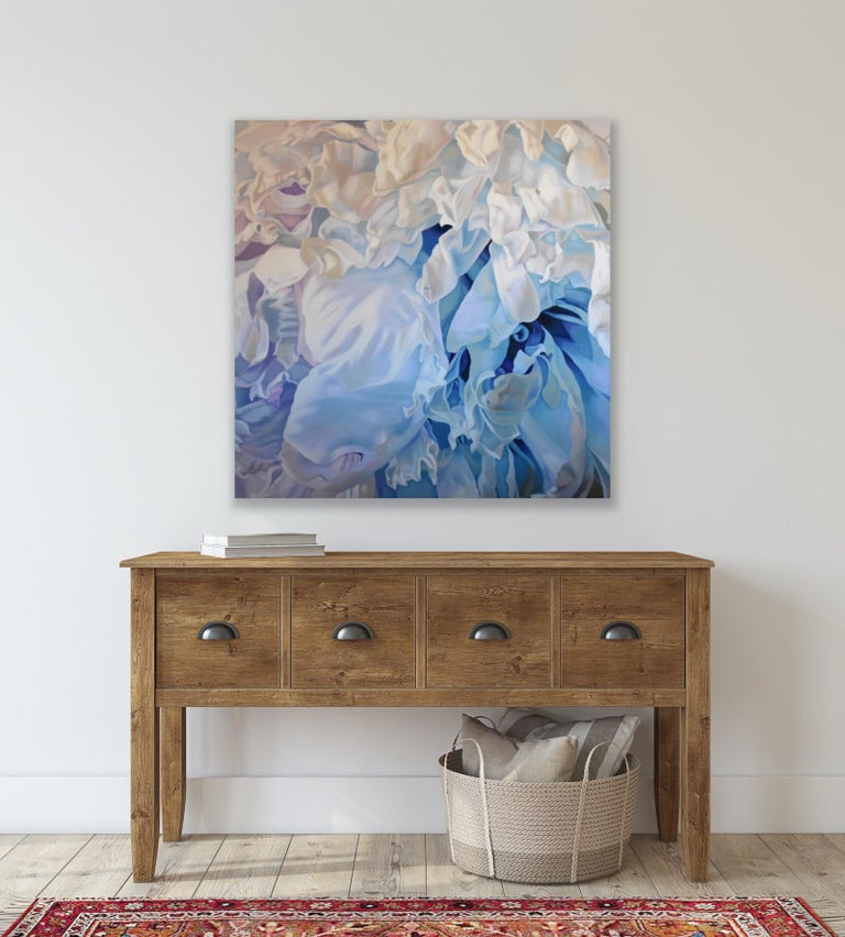 Winter Rose (floral art realist oil white lilac blue flower georgia o'keefe ) - Gray Abstract Painting by Chloe Hedden
