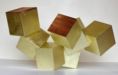 """18k gold and paduk pyrite"" (cubic, tabletop sculpture, geometric, exotic wood)"