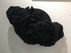 BLACK FOLDS (fabric art, wall sculpture, dark art, contemporary, textile arts)