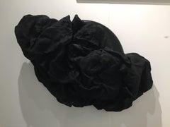 BLACK FOLDS (fabric art, wall sculpture, dark art, contemporary, textile arts)