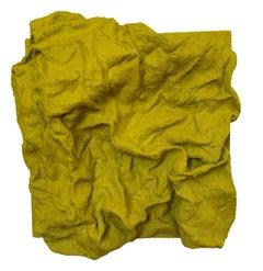 Citrus  Burst Folds (yellow fabric sculpture rustic contemporary boho chic)