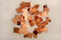 Copper and Boiree Pyrite (wood, metallic art, wall sculpture, cubic, geometric)