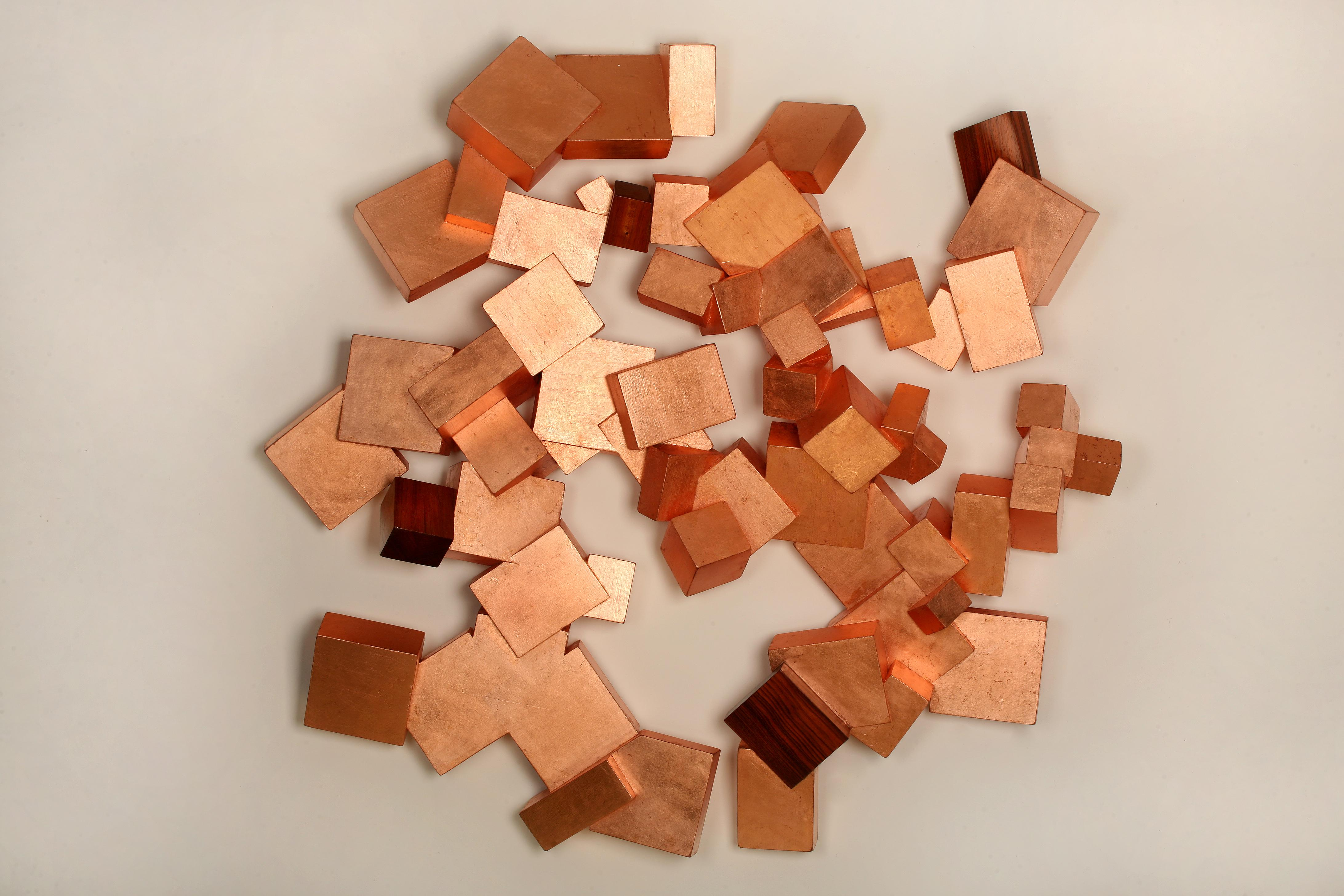 Copper and Boiree Pyrite (wood, metallic art, wall sculpture, cubic, geometric)