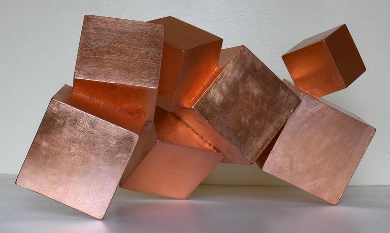 """COPPER AND MAHOGANY PYRITE"", COPPER LEAF ON PAULOWNIA WITH INSETS IN MAHOGANY, 15H X 31W X 18D, 2019, FREE-STANDING SCULPTURE-ABOUT 5 POUNDS, COA INCLUDED, SHIPS IN A WOODEN CRATE.  This series by Chloe Hedden and Bill Hedden explores the growth"