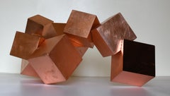 Copper and Mahogany Pyrite (exotic wood, metallic, cubic, table top sculpture)