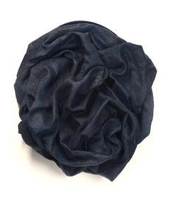 Indigo Folds I (fabric, wall sculpture, dark, contemporary design, textile arts