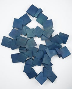 Sapphire Pyrites (cubic, blue, wood art, wall sculpture, contemporary design)
