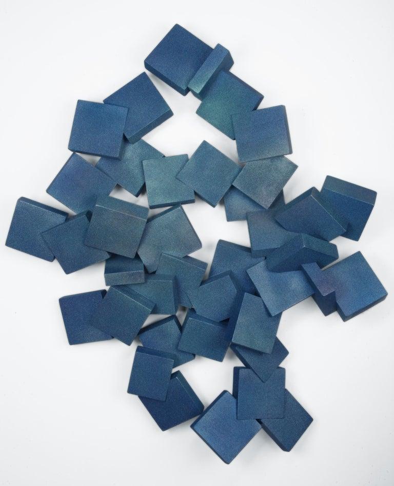 Sapphire Pyrites (cubic, blue, wood art, wall sculpture, contemporary design) - Mixed Media Art by Chloe Hedden