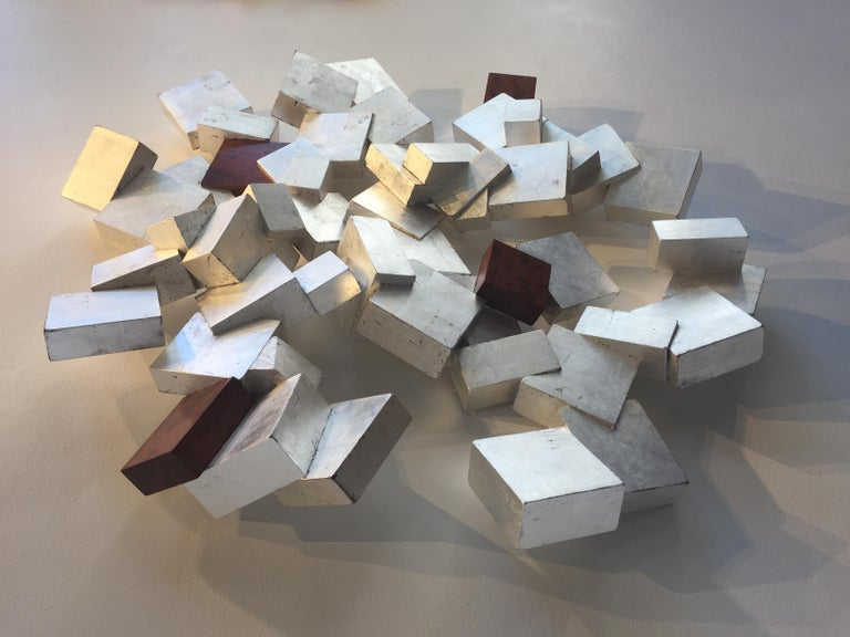Silver and Bubinga Pyrite - Abstract Geometric Sculpture by Chloe Hedden