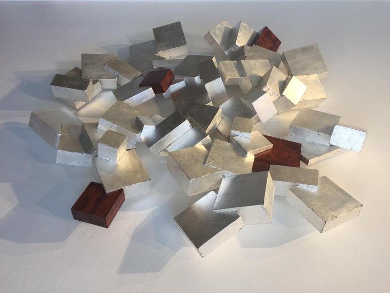 Silver and Bubinga Pyrite - Beige Abstract Sculpture by Chloe Hedden