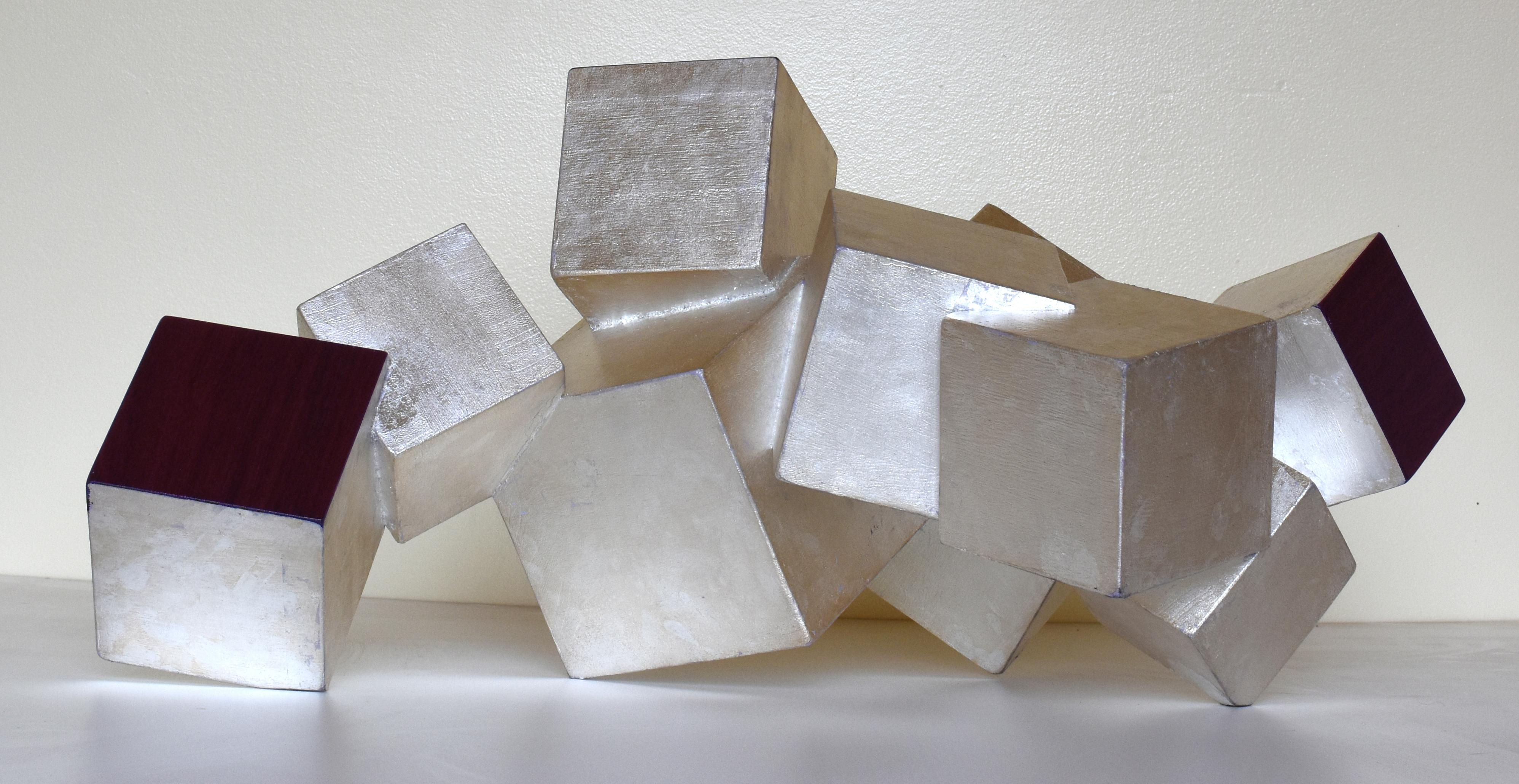 Sterling Silver and Purpleheart Pyrite (wood tabletop sculpture, metallic, cubic