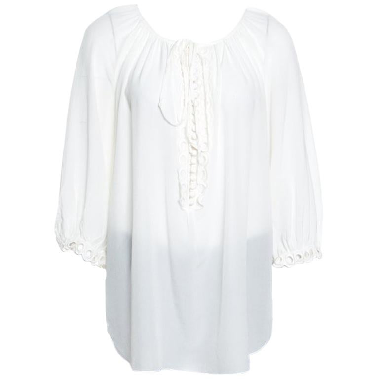 6993e02f0538fb Chloe White Contrast Lined Long Sleeve Floral Lace Top L For Sale at 1stdibs