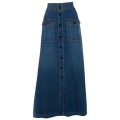 Chloe Indigo Denim Button Front Flared Maxi Skirt L