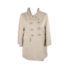 Chloe Ivory Quilted Leather Double Breasted Coat Jacket Szie 40