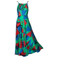 Chloe Karl Lagerfeld Cubist Green Silk Print Sleeveless Dress, 1970s