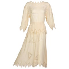 Chloe Karl Lagerfeld Ivory Silk Ebroidered  Dress, 1981